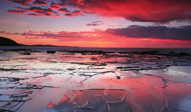 закат, пляж, море, небо,