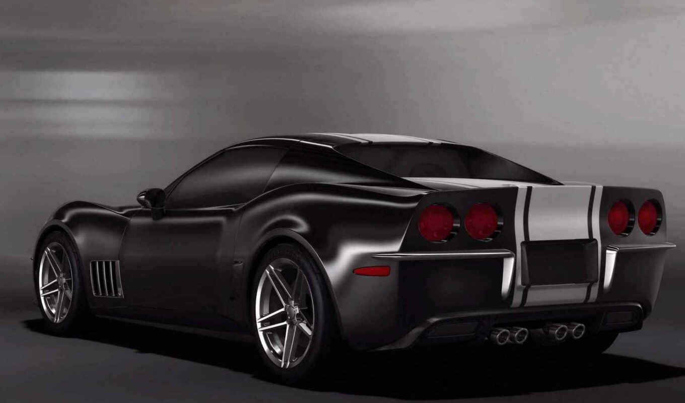 corvette, stingray, design, ретро, black, chevrolet,