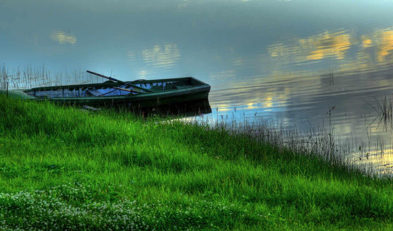 лодка, берег, трава, лодки, космос, марта, summer, water, нарьян,