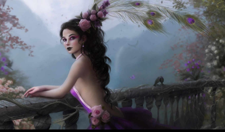 девушка, цветы, перья, розы, art, перила, балкон, павлина,