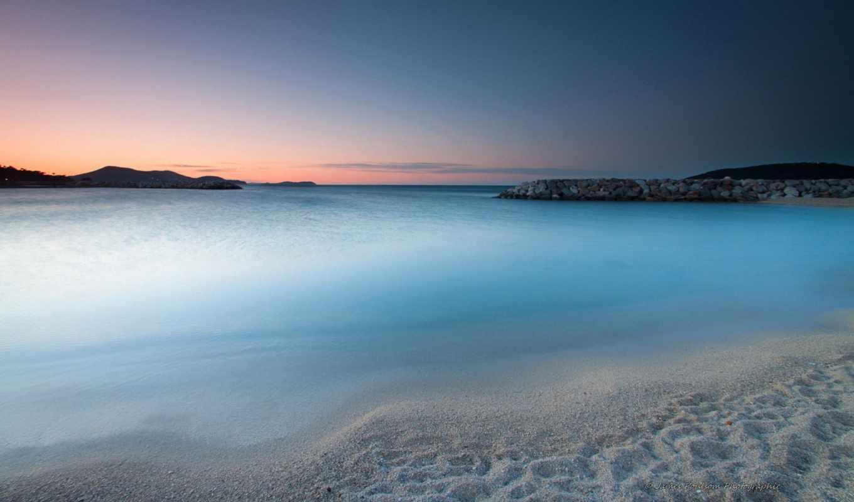 утро, победить, widescreen, scenery, free, пляж, color,