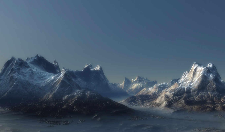 горы, пейзаж, скалы, туман, обои, ландшафт, рендер