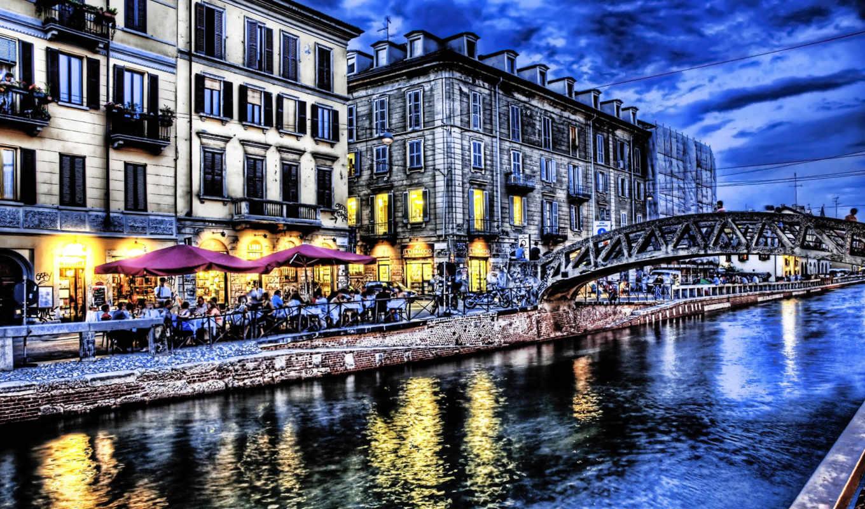 город, мост, набережная, sky, river, cafes, building,