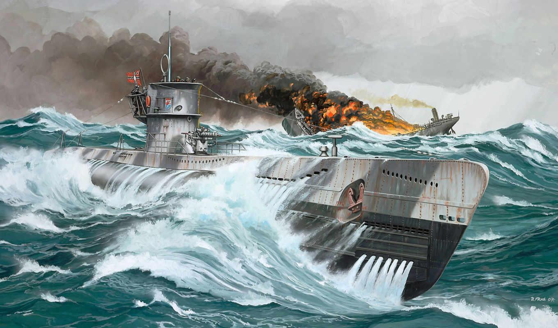 ботинок, лодки, подводные, рисованные, армия, vii, лодка, подводная, war, грн,