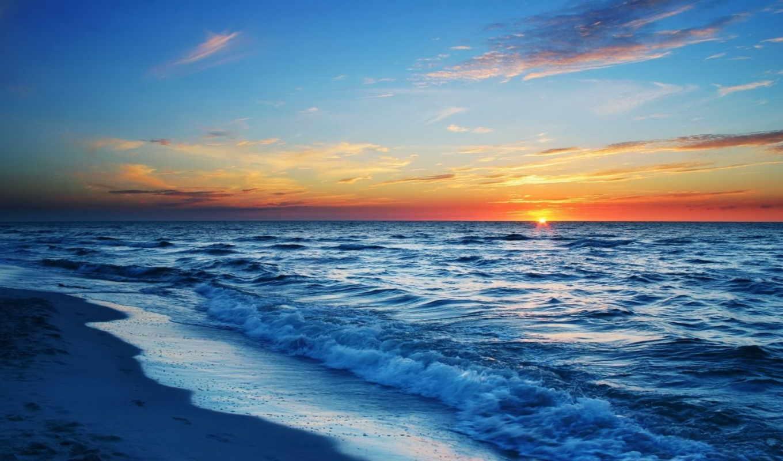 море, sun, закат,