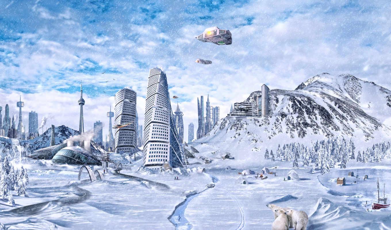 , global, freezing, fantasy, city,