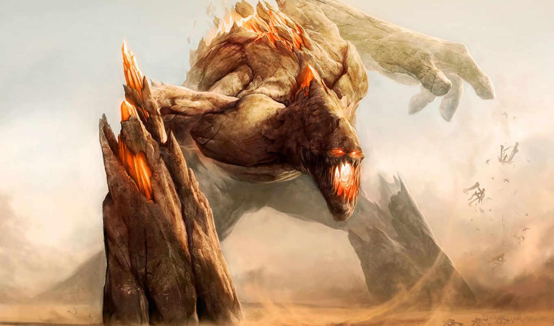 сражение, каменный, пасть, открытая, rock, монстр, люди, катапульты, воины, desktop, rift, подборка, titan, monsters, general, giant, golem, artwork, earth, art, colossus, картинку,