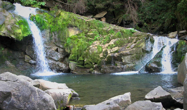 ,водопад,камни,скалы,ветки,вода,