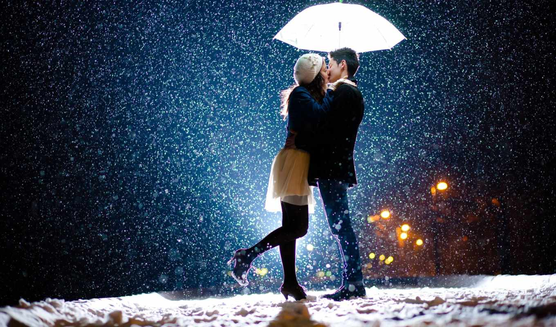 он и она, поцелуй, снегопад, снег, зонт