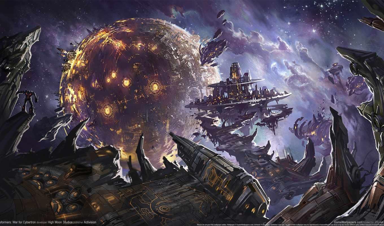 transformers, трансформеры, planet, cybertron, fantasy, war, красивые, фантастика, взрывы, битва, cosmos,