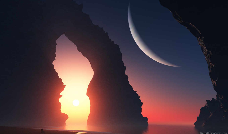 арт, девушка, пейзаж, закат, море, скалы, арка, планета,