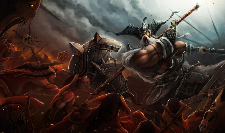 арт, демоны, оружие, варвар, схватка, огромная, секира,