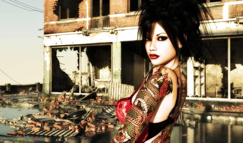 тату, девушка, дракон, макияж, разрушенное, building,