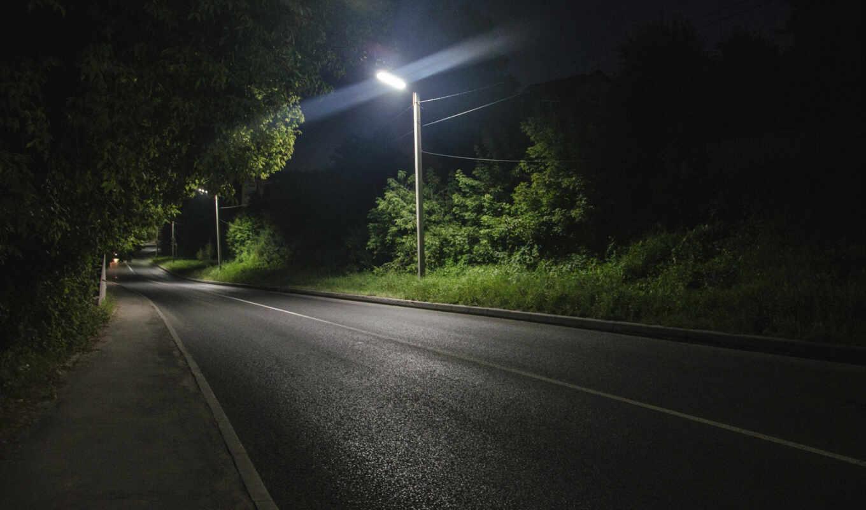 ночь, дорога, dark, дорогой, асфальт, огни