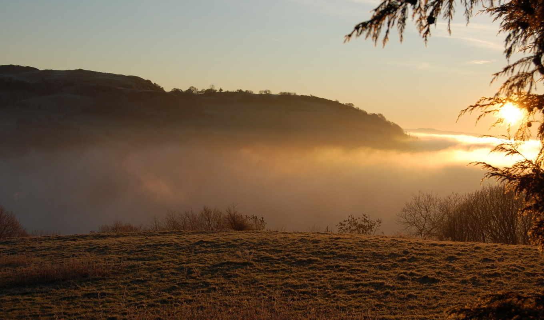 природа, горы, закат, тучи, пейзаж, свет, картинка,