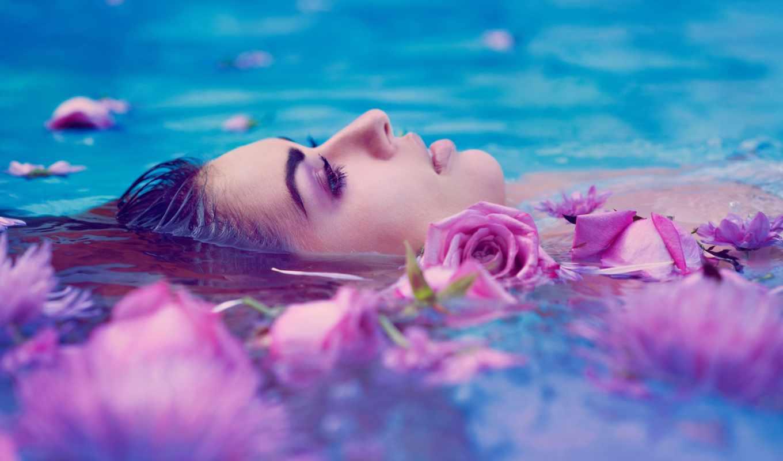 вода, цветы, leigh, woda, kobieta, розы,