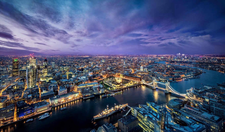 london, река, город, thames, мост, ночь, панорама,