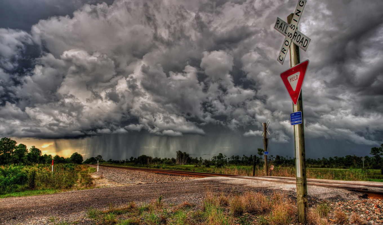 небо, railroad, природа, stormy, облако, winter, sign, буря, clouds, crossing,