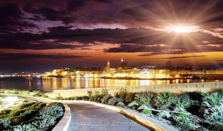 вечер, город, sun, landscape, закат, залив,