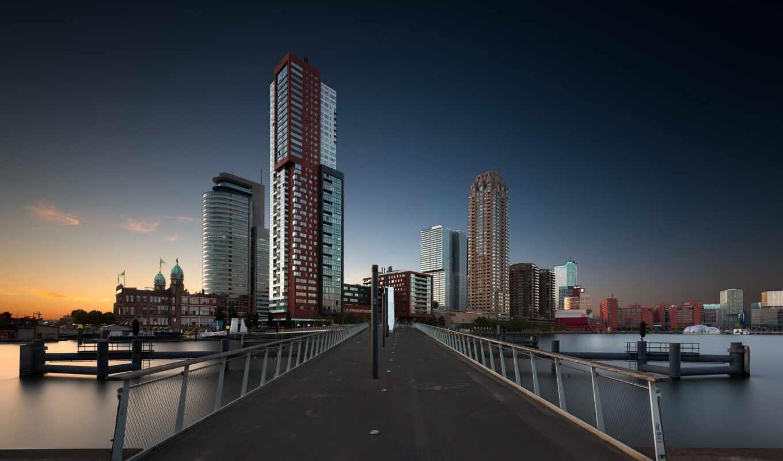 роттердам, город, нидерланды, закат, rijnhavenbrug, dusk, мост, небоскрёб, ресторан