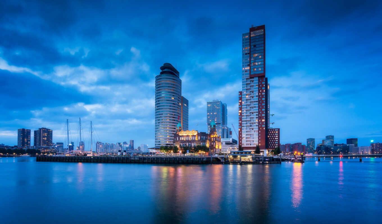 порт, город, роттердам, отражение, огонь