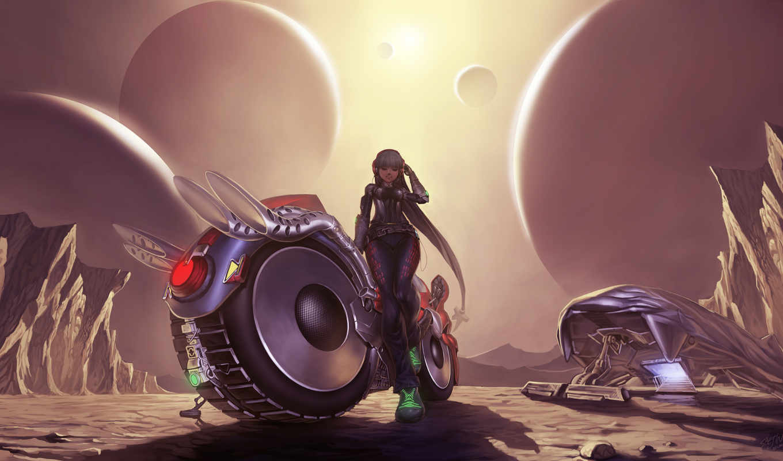 девушка, мотоцикл, планеты, спутники