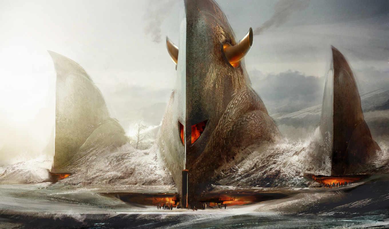 guild, wars, игры, north, eye, картинку, фэнтези, изображение, страшный, fantasy, fantastic, корабль, world,