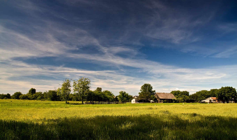 пейзажи, трава, природа, дома, dreams,