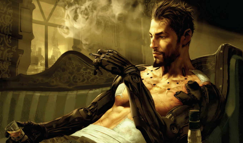 deus, human, revolution, имплантанты, образца, боевого, курит, киборг,