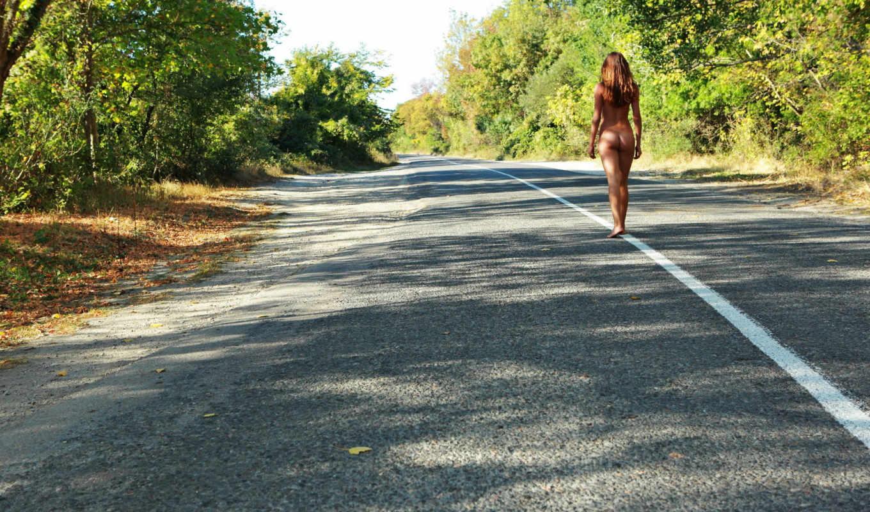 девушка, дорога, дороге, девушек, голая,