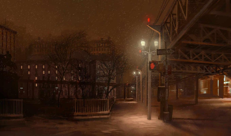 город, же, снег, cities, улицу,