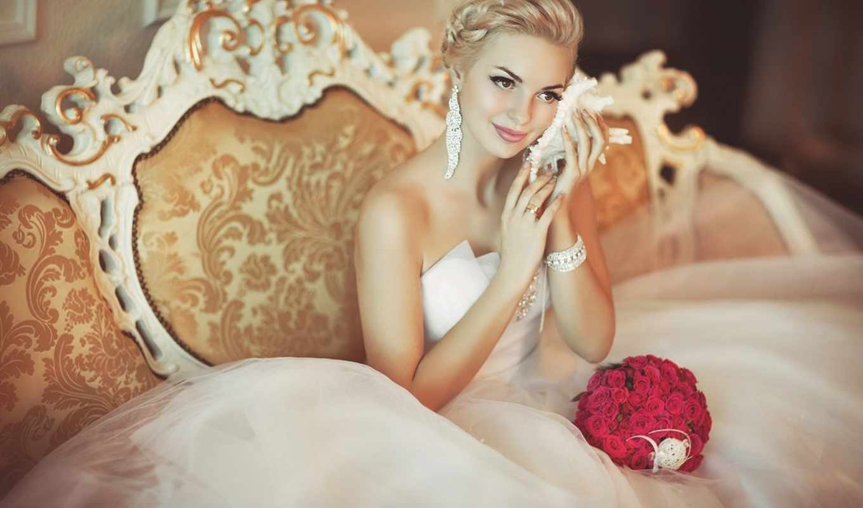 невеста, свадьба, раковина, букет, диван, розы