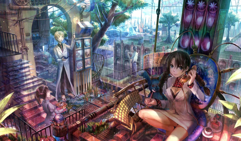 anime, работать, девушка,