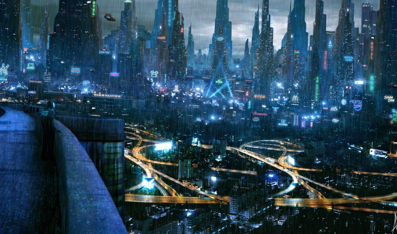 cyberpunk, город, огни, будущее,