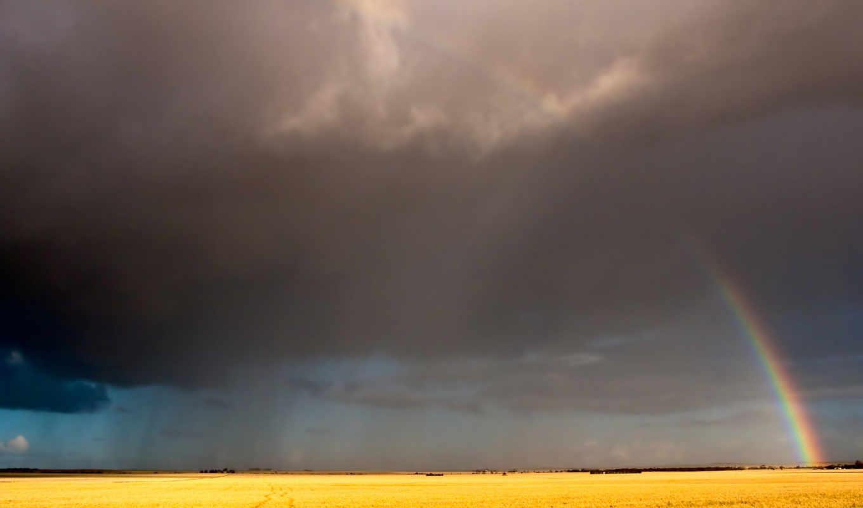 радуга, небо, поле, облака, дождь, картинка, дождя,