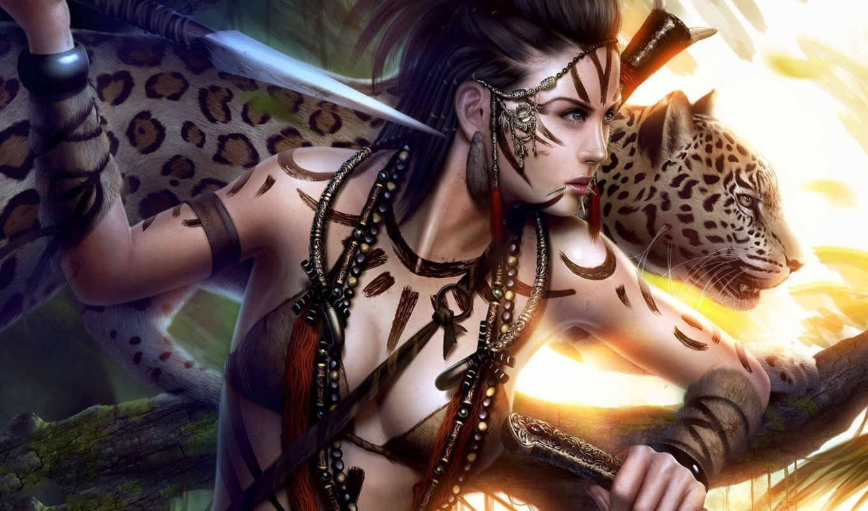 амазонка, девушка, фантастика, best, pack, women, warrior, лицо, профиль, wild, panther, категория, копьё, арт, девушки, леопард,