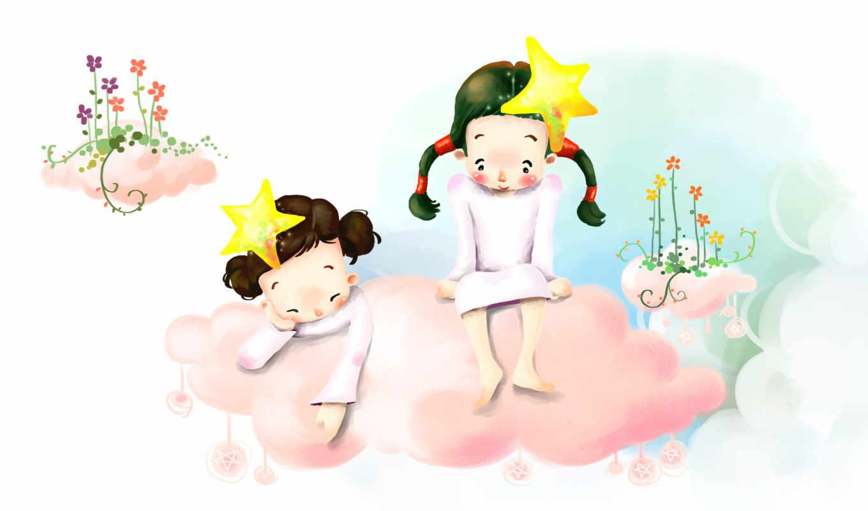 нарисованные, дети, девочки, облака, розовые, звездочки, цветы, косички