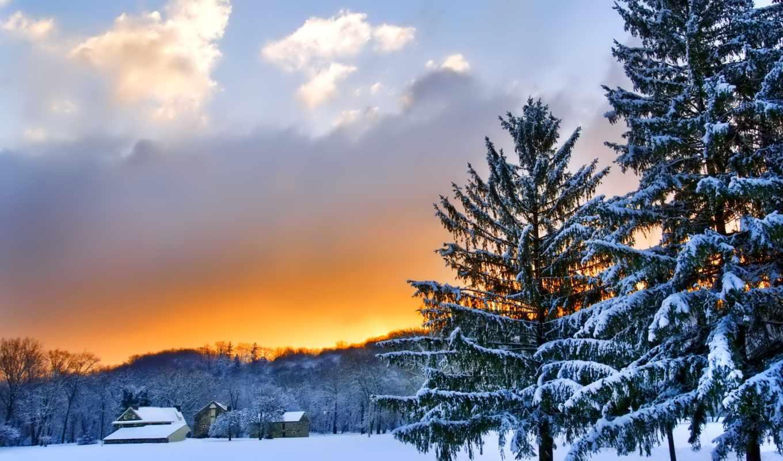 природа, winter, закат, снег, landscape, заставки, красивые, деревья,