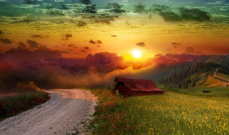 landscape, природа, цветы, house, поляна,