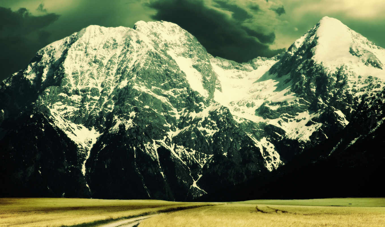 дорога, небо, горы, поле, высоком, качестве, облака,