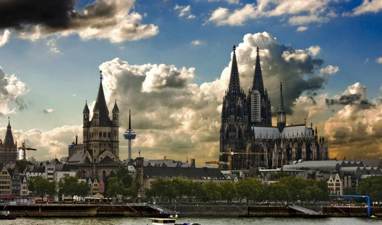 cathedral, cologne, кельнський, река, германия,