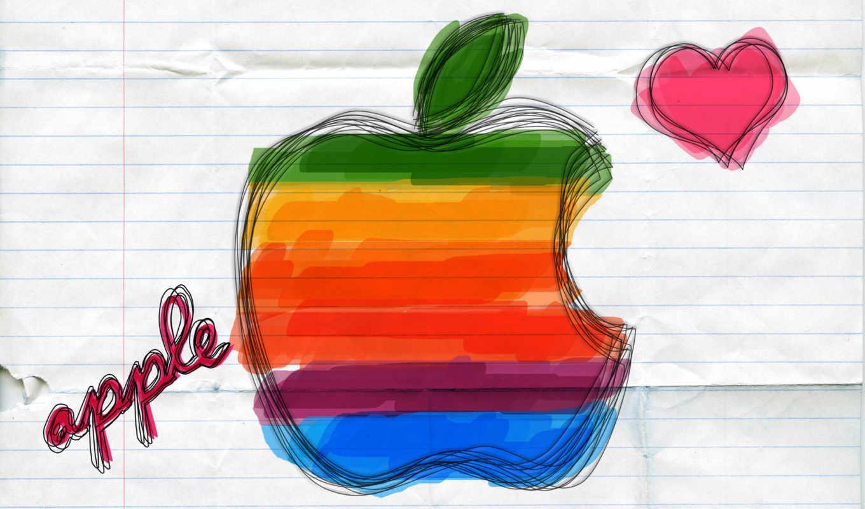 apple, лого, сердечко, тетрадь, линейка