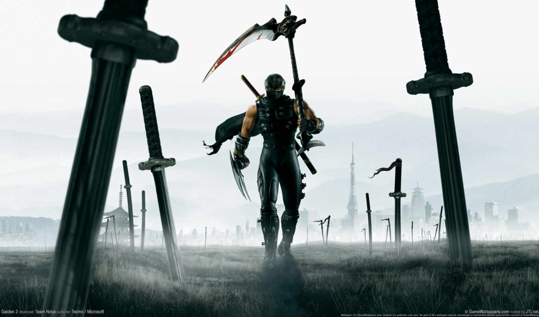 ninja, everything, рисунки, коса, мечи, gaiden, герои, art, воин,