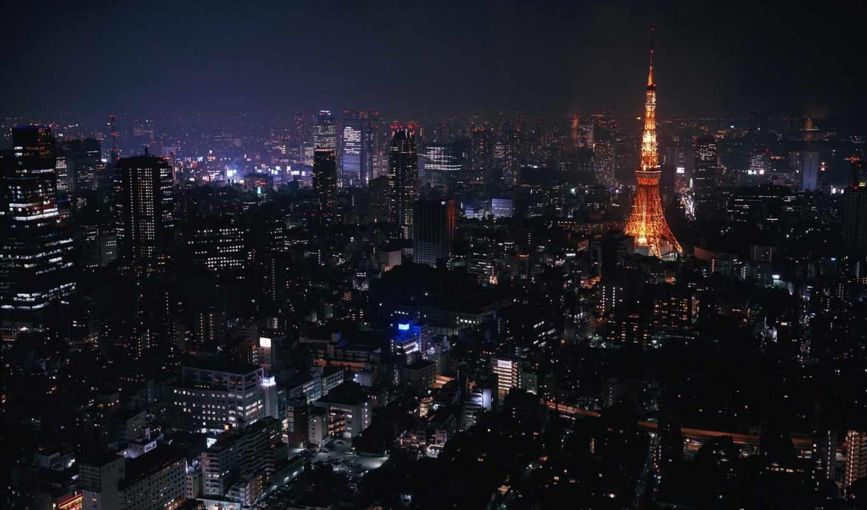 tokyo, города, ночь,