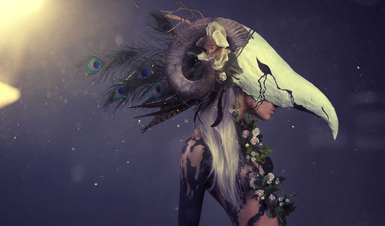 fantasy, aries, art, рогатый, девушка, маска, цветы, zodiac, cosplay, женщина, глаз