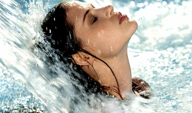 девушка, воды, струей, под, вернуться, поделиться, изображения,