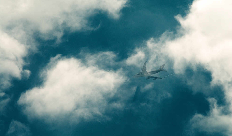 небо, облака, самолёт, шлейф,
