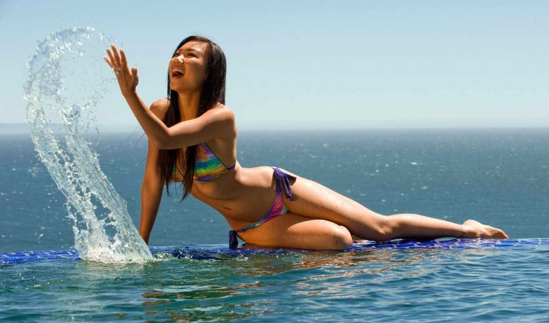море, девушка, брызги, купальник, лоли,