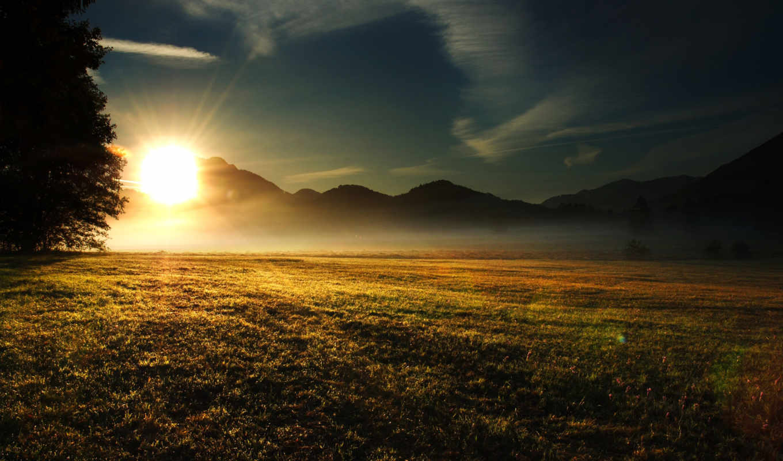 лучи, трава, природа, sun, утро, дерево, облака, горы,
