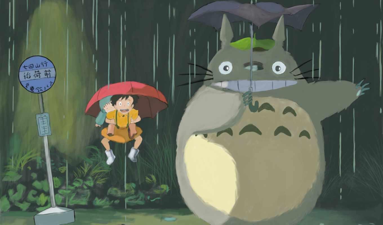 тоторо, anime, зонтик, figurine, сосед, chibi, art, рисунок,